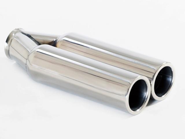 Endrohr 2x75mm rund breite flache Kante